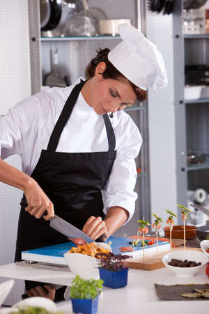 demonstrations: Female chef at work