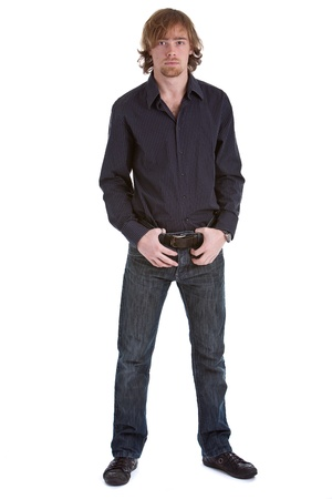 goatee: Young caucasian man standing in casual pose on white background