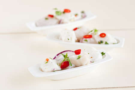 starter: Delicious and fresh starter with cod marinated in lime juice