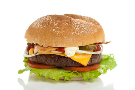 Delicious big cheeseburger on white background Stock Photo