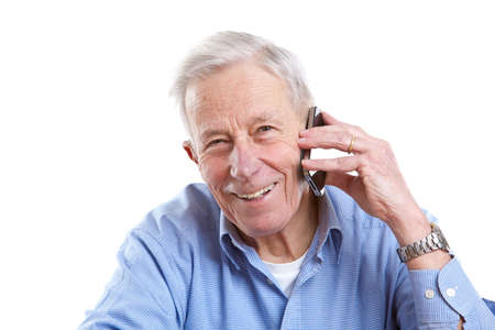 Senior man on the phone laughing