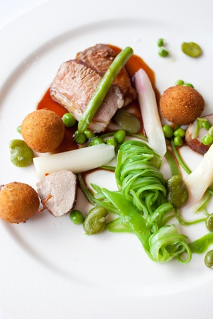 Restaurant meal with lamb, asparagus and beans Stock Photo - 11112726
