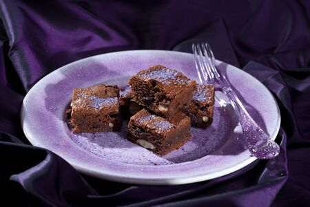 Delicious lavender chocolate brownies Stock Photo - 11112687