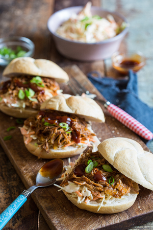 Delicious sandwiches with coleslaw, pulled pork and barbecuesauce