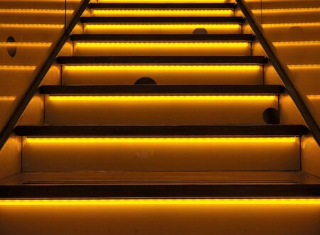 led lighting: stairway illuminated with funny holes