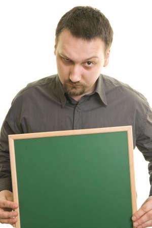 business skeptical: hombre sobre un fondo blanco, celebraci�n de pizarra