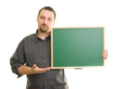 men s: man on a white background holding blackboard Stock Photo