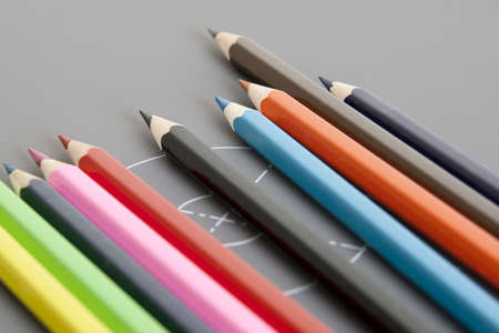 palette of colored pencils in row photo