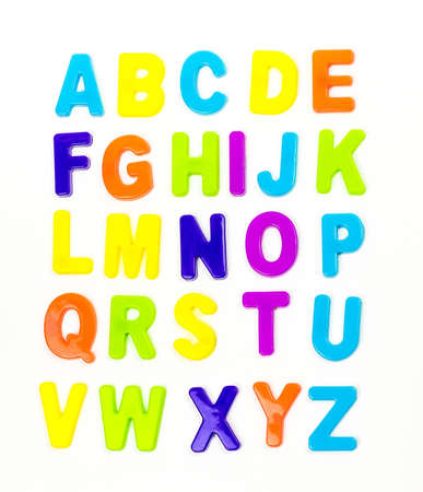 Plastic magnetic letters isolated on white, top view. Alphabetical order Stockfoto