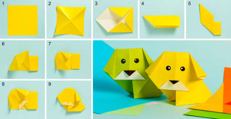 Step-by-step photo instructions on how to make a dog figurine out of paper with your own hands. Simple crafts with children. Origami