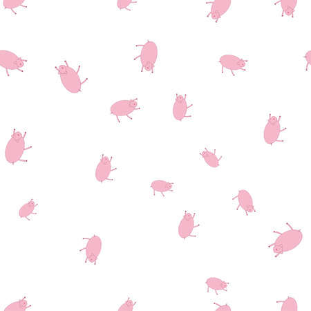 Seamless pattern with pigs in funny poses. Isolated on white background. Illustration