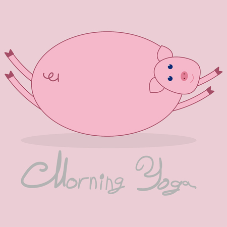 Morning yoga with a pig. Pink background. The text under the picture Morning Yoga .