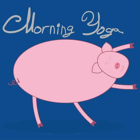 Morning yoga with a pig. Pig bends over and pulls the arms forward. Blue background. The text above Morning Yoga . Иллюстрация
