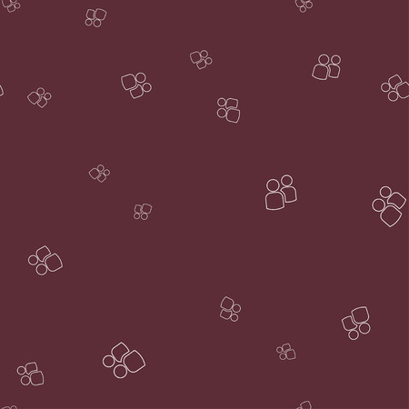 Icon two contours of people seamless pattern. Simple vector illustration. Dark red background. 向量圖像