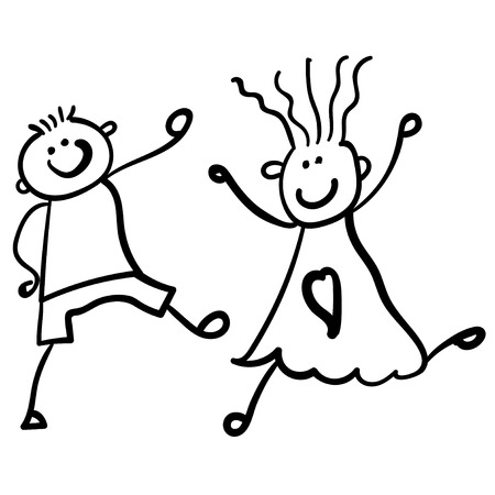 Children playing boy with girl. Style of childrens drawing. Vector illustration. Outline drawing on a white background.