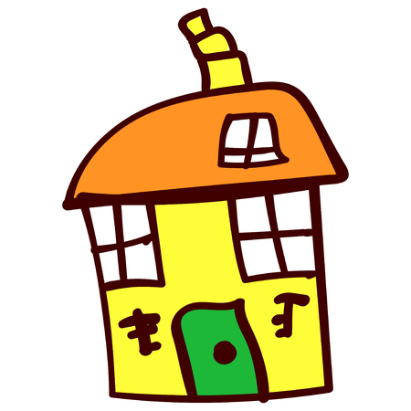 Big yellow crooked house in the style of childrens drawing. Vector illustration. Isolated white background.
