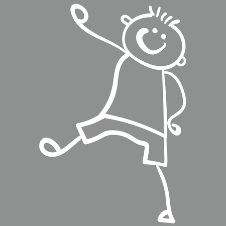 Boy in shorts and a t-shirt is coming. Style of childrens drawing. Vector illustration. Outline drawing on a gray background. Chalk drawing on asphaltChalk drawing on asphalt.