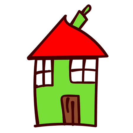 Green crooked house in the style of childrens drawing.  illustration. Isolated white background.