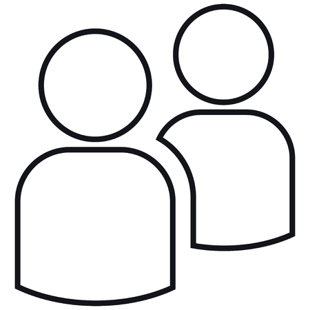 Icon two contours of people. Simple  illustration. Isolated on a white background. 版權商用圖片