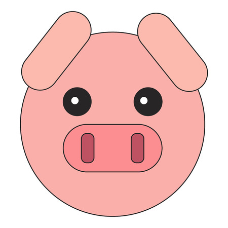 The head of a pig. Flat style on an isolated white background. Ilustração