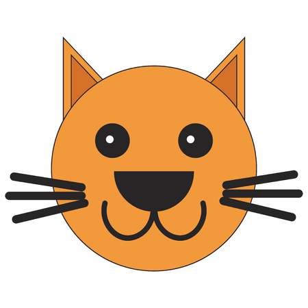 Head of a cat in cartoon style. Vector illustration on white background.