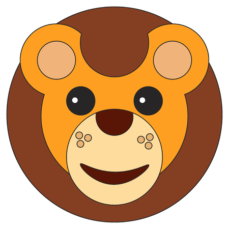 Lion cub face in cartoon flat style. Vector illustration on white background. Illustration