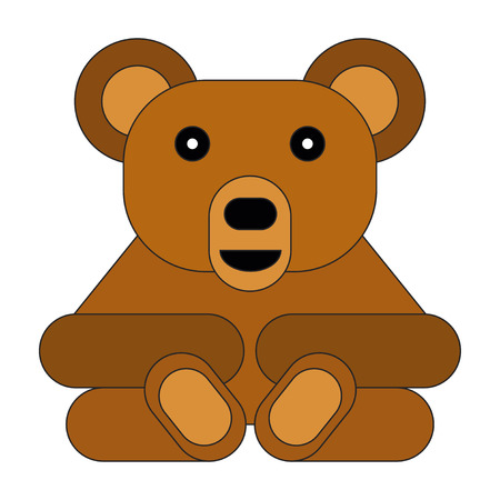Flat style cartoon bear. Vector illustration on white background.