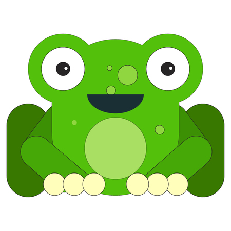 Frog in cartoon flat style. Vector illustration on white background.