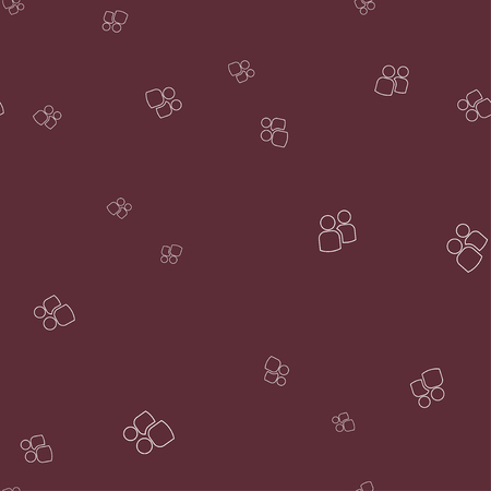 Icon two contours of people seamless pattern. Simple  illustration. Dark red background. 版權商用圖片