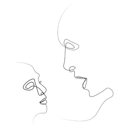 Zwei Silhouetten von Menschen mit einer Linie gezeichnet. Einfache Vektorillustration. Isoliert auf weißem Hintergrund.
