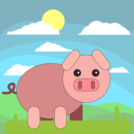 Pig in cartoon flat style on the background of meadows, sun and clouds. Vector illustration on white background. Illustration