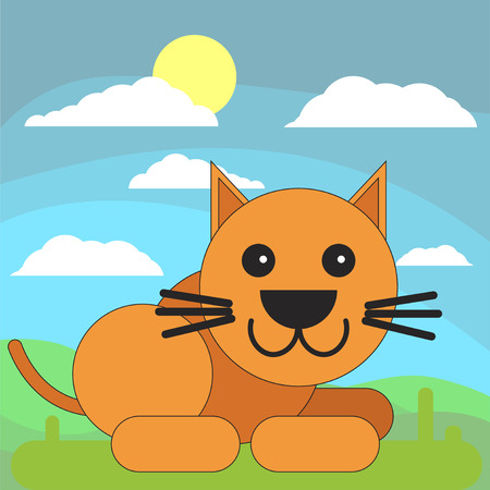 Cat in cartoon flat style on the background of meadows, sun and clouds. Vector illustration on white background.