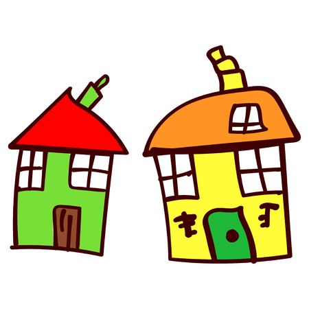 Two crooked house in the style of childrens drawing.  illustration. Isolated white background. Imagens