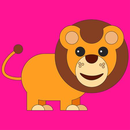 Lion in cartoon flat style. Vector illustration on color background Illustration