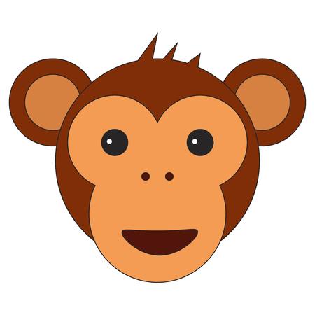 Monkey head in cartoon flat style.  illustration on white background.