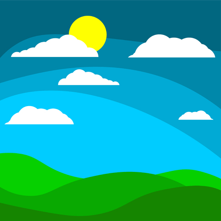 Cartoon children s background field with the sun behind the clouds.  illustration