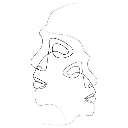 Zwei Silhouetten von Menschen mit einer Linie gezeichnet. Einfache Abbildung. Isoliert auf weißem Hintergrund. Standard-Bild