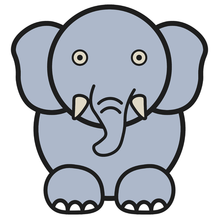 Elephant in cartoon style. On white background, vector illustration