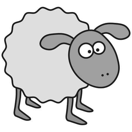 Sheep in cartoon style. On white background, vector illustration Vector Illustratie
