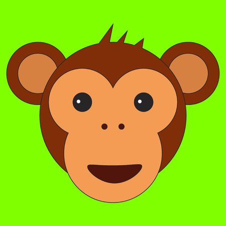 Monkey head in cartoon flat style.  illustration on color background
