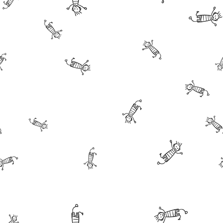 Kids seamless pattern in doodle style. Vector illustration on white background.
