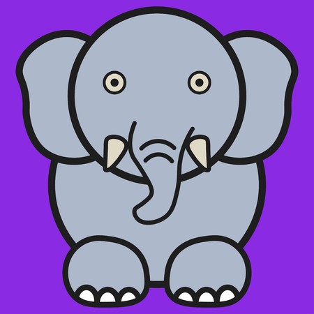 Elephant in cartoon style. On color background, vector illustration