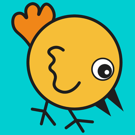 Chicken in cartoon style. On color background, vector illustration