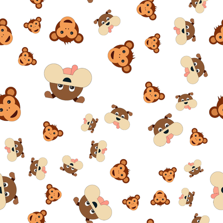 Seamless pattern of monkey head and dogs. Vector illustration in cartoon style.