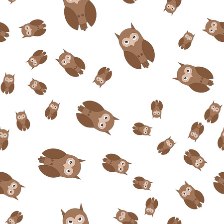 Seamless pattern made of owls. Vector illustration in cartoon style.