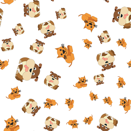 Seamless pattern of cat and dog. Vector illustration in cartoon style.