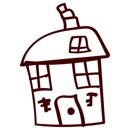 Kids house in doodle style. Contoured and isolated. Vector illustration Stock Photo