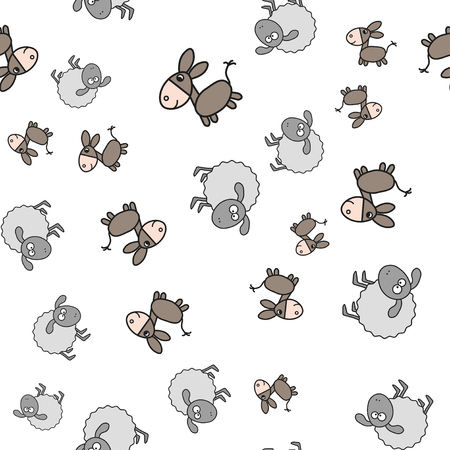 Seamless pattern made from donkeys and lambs in cartoon style. On white background, vector illustration.
