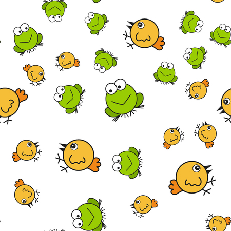 Chickens and frogs seamless pattern in cartoon style. On white background, vector illustration.
