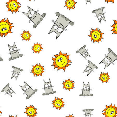 Seamless pattern of cats and suns in cartoon style. On white background, vector illustration.